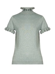 Shrimps Mary Frill Trimmed Wool Blend Top Mint
