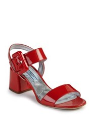 Prada Patent Leather Mid Heel Sandals Red Tan White