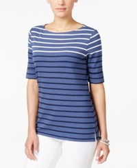 Karen Scott Striped Elbow Sleeve Top Only At Macy's Heather Indigo