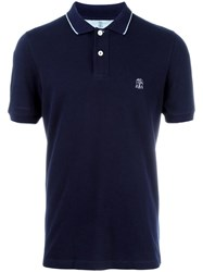 Brunello Cucinelli Logo Embroidered Polo Shirt Blue
