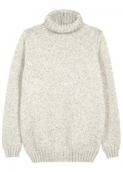 John Smedley Kilbreck Roll Neck Wool Blend Jumper Silver