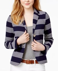 Tommy Hilfiger Rugby Striped Blazer Only At Macy's Navy Ivory