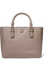 Tory Burch Robinson Mini Textured Leather Tote Mushroom