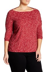 Jessica Simpson Ribbed Long Sleeve Shirt Plus Size Red