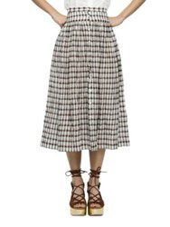 Nikki Chasin Button Front Plaid Skirt Dark Red Multicolor
