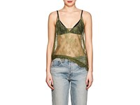 Off White C O Virgil Abloh Sheer Floral Lace Tank Green