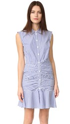 Veronica Beard Ruched Shirtdress Blue White
