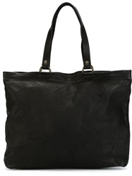 Guidi Top Zip Tote Black