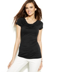 Studio M Short Sleeve Cowl Neck Top Black
