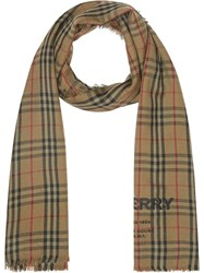 Burberry Embroidered Vintage Check Lightweight Cashmere Scarf Green