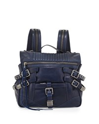 Ash Trix Leather Buckle Backpack Indigo