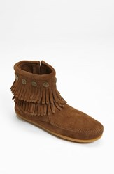 Minnetonka Women's 'Double Fringe' Boot Dusty Brown Suede