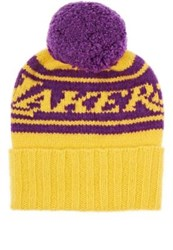 The Elder Statesman X Nba Women's Lakers Cashmere Pom Pom Beanie Yellow