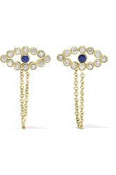Ileana Makri Chained Eye 18 Karat Gold Diamond And Sapphire Earrings