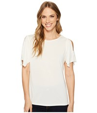 Ellen Tracy Slit Flutter Sleeve Top E Cream Women's Clothing White