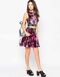 Jaded London Pink Velvet Skater Skirt Pink