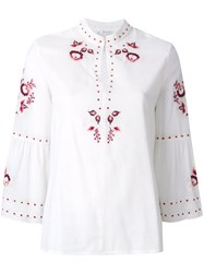 Vilshenko Embroidered Floral Blouse Cotton Nude Neutrals