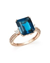 Bloomingdale's London Blue Topaz And Diamond Statement Ring In 14K Rose Gold