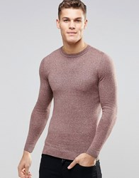 Asos Muscle Fit Crew Neck Jumper In Pink And Grey Twist Cotton Pink