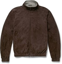 Loro Piana Suede Bomber Jacket Brown