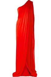 Tom Ford One Shoulder Draped Jersey Gown Red