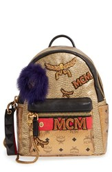 Mcm 'Stark Insignia' Metallic Leather Backpack With Genuine Fox Fur Trim