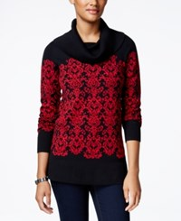 Charter Club Petite Cowl Neck Damask Sweater Only At Macy's New Red Amore Combo