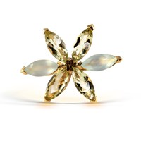 Starrs London Leaves Flower Cocktail Ring Gold Green Yellow