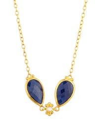 Gurhan Constantine 24K Double Teardrop Sapphire And Diamond Station Necklace