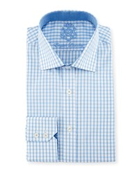 English Laundry Check Woven Dress Shirt Light Blue