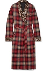 R 13 R13 Leopard Print Crepe Trimmed Checked Wool Blend Coat Multi