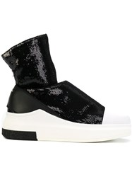 Cinzia Araia Sequined Sock Sneakers Leather Polyester Rubber Black