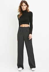 Forever 21 Contemporary Pinstripe Wide Leg Pants Black White