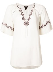 Paige Embroidered Shortsleeved Blouse Women Viscose Xs White