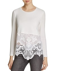 Generation Love Lacy Embroidered Panel Sweater White