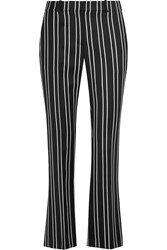 Givenchy Straight Leg Pants In Black And White Striped Wool Jacquard