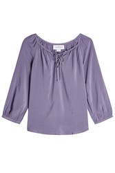 Velvet Blouse With Self Tie Detail Purple