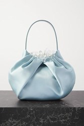 Simone Rocha Embellished Satin And Leather Tote Blue