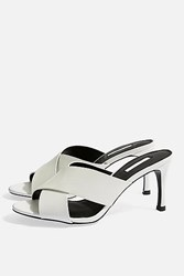 Topshop Spirit Cross Strap Mules White