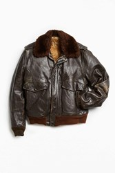 Urban Outfitters Vintage Faux Fur Lined Leather Jacket Chocolate