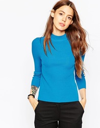 Asos Baby Rib Jumper With Turtle Neck In Structured Knit Blue