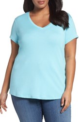Sejour Plus Size Women's Short Sleeve V Neck Tee Teal Angel