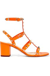 Valentino Studded Neon Leather Sandals Bright Orange