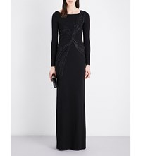 Emilio Pucci Sequin Embellished Long Sleeved Gown Black