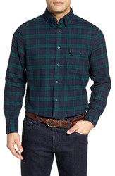 Nordstrom Men's Shop Classic Big And Tall Fit Plaid Flannel Shirt Green Bug Navy Tartan