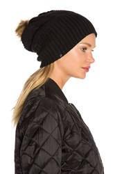 Plush Fleece Lined Faux Fur Pom Pom Hat Black