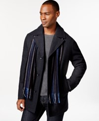 Perry Ellis Big And Tall Wool Blend Scarf Coat Charcoal