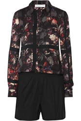 Thakoon Printed Crepe And Cotton Blend Poplin Playsuit Black