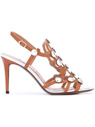 L'autre Chose Studded Sandals Women Calf Leather Leather Metal Other 36 Brown