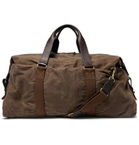 J.Crew Abingdon Waxed Cotton Canvas And Leather Holdall Brown